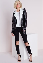 Missguided Extreme Cut Out Knee Skinny Jeans Black