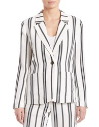 Sanctuary Striped Notched Collar Blazer White