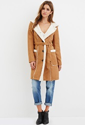 Forever 21 Hooded Faux Suede Coat Camel Cream