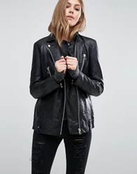 Mango Longline Real Leather Biker Jacket Black
