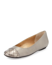 Neiman Marcus Shantell Leather Cap Toe Flat Pewter Prl