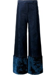 Rosie Assoulin Oversize Floral Cuff Trousers Blue