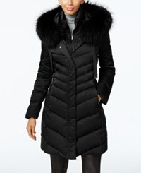 Elie Tahari Asiatic Raccoon Fur Trim Chevron Down Puffer Coat Black