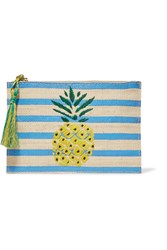 Kayu Pineapple Striped Woven Straw Pouch Blue