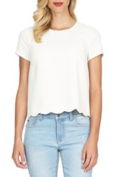Women's Cece By Cynthia Steffe Short Sleeve Scallop Hem Blouse Antiq White