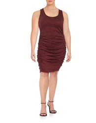 Jessica Simpson Plus Ruched Knit Dress Brown