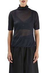 Topshop Women's Boutique Funnel Neck Sheer Ribbed Tee