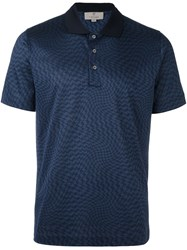 Canali Twisted Houndstooth Polo Shirt Blue