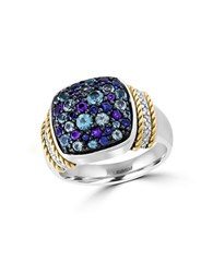 Effy Semi Precious Multi Stone Sterling Silver And 18K Yellow Gold Ring Purple