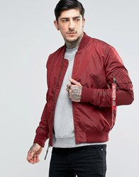 Alpha Industries Ma 1 Bomber Jacket Slim Fit In Burgundy Re1 Red 1