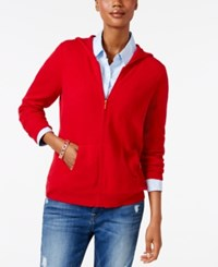 Charter Club Cashmere Zip Front Hoodie Only At Macy's New Red Amore