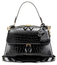 Victoria Beckham Full Moon Small Embossed Leather Tote Black