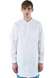 Oamc Perforated Sleeve Over Shirt White