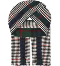 Comme Des Garcons Shirt Tartan Houndstooth Wool Scarf Green Black White