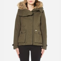 Woolrich Women's Scarlett Short Coat With Detachable Inner And Fur Hood Military Olive Green