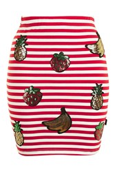 Kuccia Sequin Fruit Mini Skirt By Red