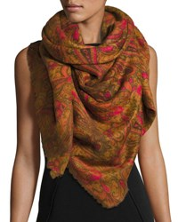 Neiman Marcus Paisley Print Knit Scarf Camel Hot