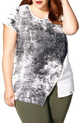 Mblm By Tess Holliday Plus Size Women's Asymmetrical Zip Front Top