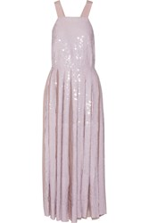 Tibi Eclair Pleated Sequined Silk Georgette Maxi Dress Pastel Pink