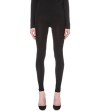 Valentino Ribbed Knit Stretch Jersey Leggings Blk