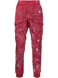 Prps Distressed Cargo Pants Red