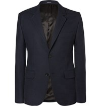 Alexander Mcqueen Navy Slim Fit Checked Cotton Blend Blazer Blue