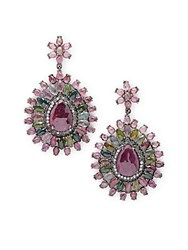 Bavna Ruby Tourmaline And Sterling Silver Drop Earrings
