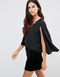 Tfnc Tie Detail Top With Cape Black