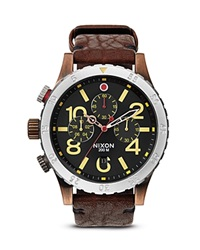 Nixon The 48 20 Chrono Leather Strap Watch 48Mm Antique Copper Brown