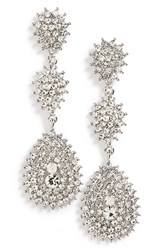 Tasha Women's Crystal Teardrop Earrings Silver