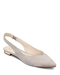 Marc Fisher Ltd. Silva Suede Pointed Toe Slingback Flats Light Grey