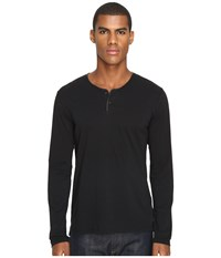 The Kooples Light Cotton And Washable Leather Henley Black