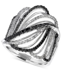 Effy Collection Effy Black And White Diamond Crisscross Swirl Ring 5 6 Ct. T.W. In 14K White Gold