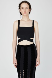 Alexander Wang Rayon Knit Criss Cross Tank Top Black