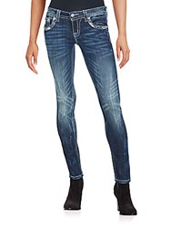 Miss Me Slim Fit Embellished Faded Jeans Dark Blue