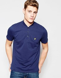 Lyle And Scott Polo Shirt With Bomber Collar In Navy Navy