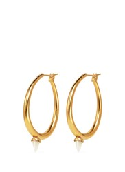 Ela Stone 'Jenny' Mini Jade Spike Hoop Earrings Metallic