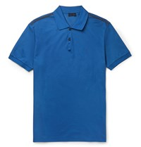 Lanvin Cotton Pique Polo Shirt Blue
