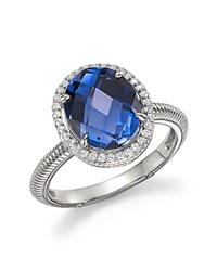 Judith Ripka Sterling Silver Micro Pave Ring With Blue Corundum And White Sapphires Blue Silver