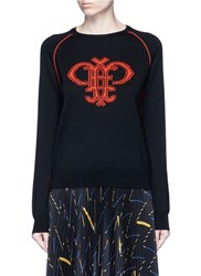 Emilio Pucci Monogram Merino Wool Sweater Black