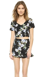 Re Named Sweetheart Short Sleeve Crop Top Black