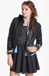 Thread Supply Hooded Faux Leather Bomber Jacket Juniors Black
