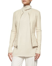 The Row Lanasta Round Neck Leather Zip Jacket Rose Cream