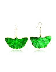 Aurelie Bidermann Gold And Emerald Green Ginkgo Earrings