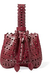 Alaia Bracelet Laser Cut Leather Mini Bucket Bag Claret