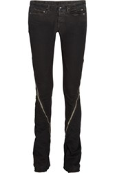 Rick Owens Zipped Low Rise Skinny Jeans Black