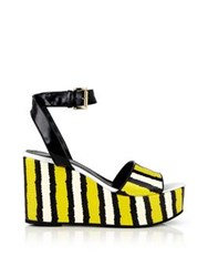 Just Cavalli Striped Snake Print Wedged Sandals Yellow