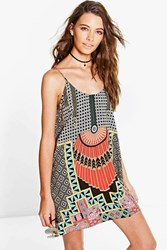 Boohoo Placement Geo Slip Dress Multi