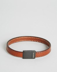 Ted Baker Clasp Tan Bracelet With Leather Stitch Tan Brown