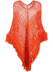 Emilio Pucci Asymmetric Crochet Poncho Yellow And Orange